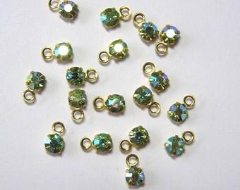 Sale! - Rhinestone Chrysolite AB Vintage Swarovski Charms (12) (S2)