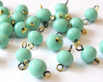 Sale! - 8 Vintage Turquoise Blue German Glass Round Link Beads with Brass Loops