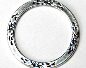 Antique Silver 25mm Trinity Brass Floral Eternal Ring (2) (F401)