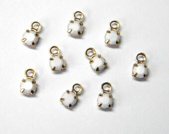 Sale! - Chalk White Rhinestone Charms Swarovski Vintage Crystal  (12)