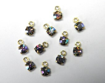Sale! - Vintage Starlight Swarovski Crystal Rhinestone Charms  (12) (S2)