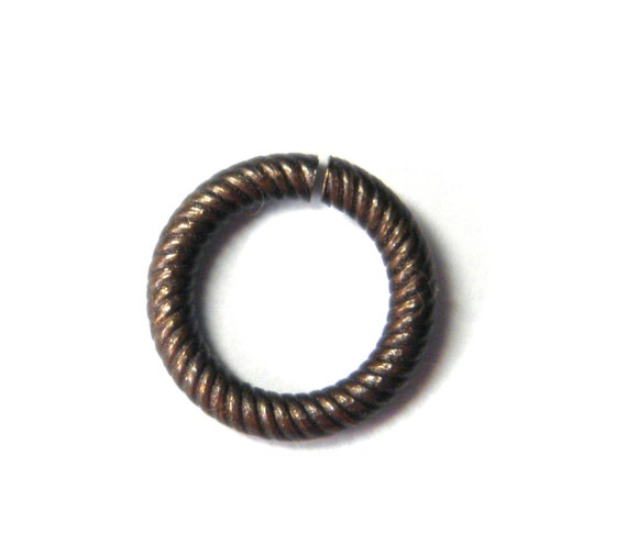 Bronze Brass 9.5mm Etched Jump Rings by Vintaj (10)
