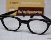 Vintage Safety Glasses Black Frames Eyeglasses Spectacles NOS