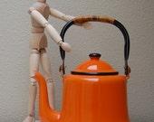 Vintage Orange Enamel Teapot Japan Enamelware Tea Kettle