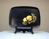 Vintage COUROC Monterey California Serving Tray Poppy Orange Yellow