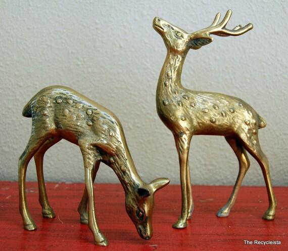 Vintage Solid Brass DEER Couple Decorative Figurines Stag Doe