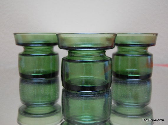 3 Dansk IHQ Green Glass Candle Holders Votives Finland