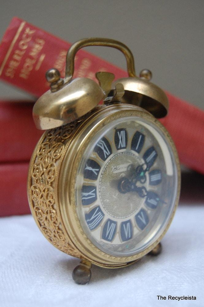 Vintage Brass Blessing Alarm Clock West Germany Filigree
