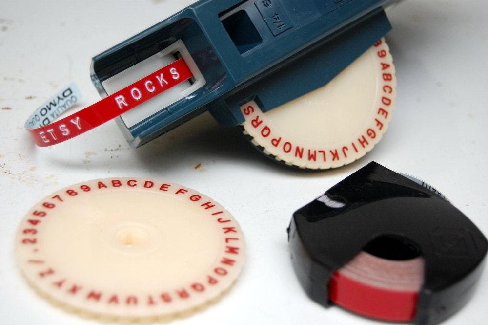Vintage Blue DYMO M-6 Label Maker with Tape Extra Font
