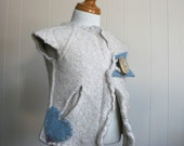 RESERVED for aaila--Creamy Dreamy Heart Upcycled Felted Wool Vest, 18-30 months