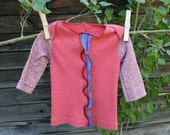 newborn longsleeve lap-shoulder top-coral rib