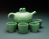 Pale Green Porcelain Teapot with 4 Teacups