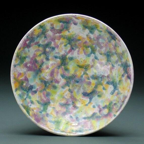 Multi-Colored Glossy White Confetti Bowl