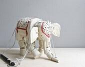 antique wood elephant marionette