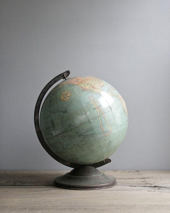 "1920s aqua school globe 12"""