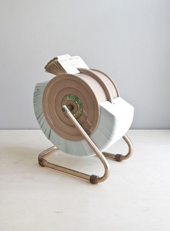 mid century industrial desk file / wheeldex / rolodex