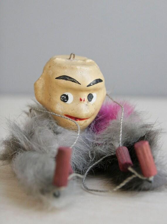 fur monkey marionette / vintage handmade