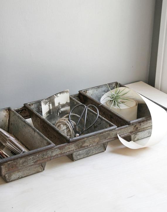 vintage organizer / industrial bread pan