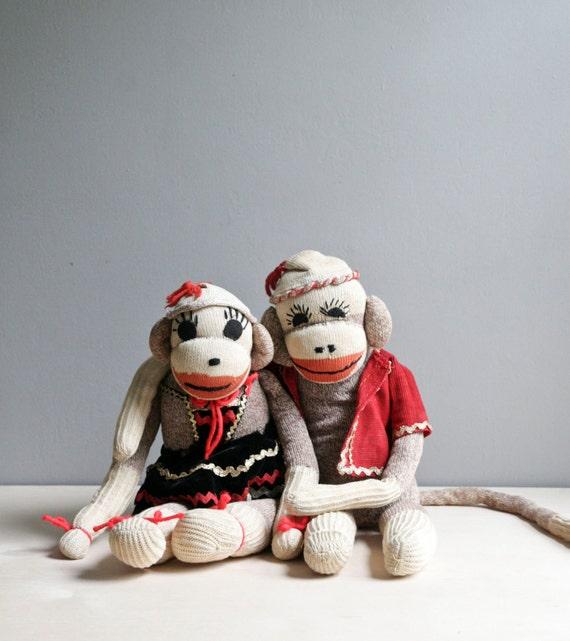 pair of vintage sock monkeys
