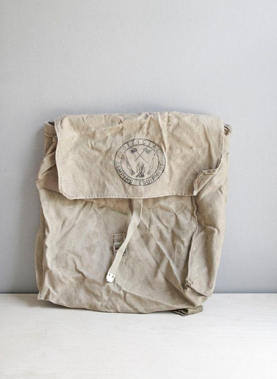 vintage scout pack / canvas knapsack