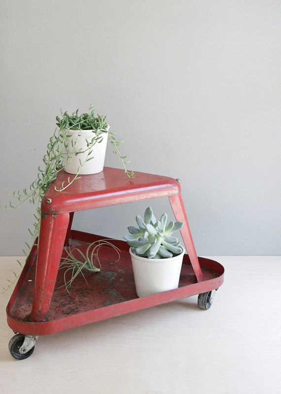geometric red vintage shop stool
