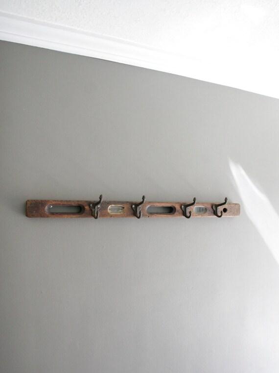 vintage rustic level wall hook rack