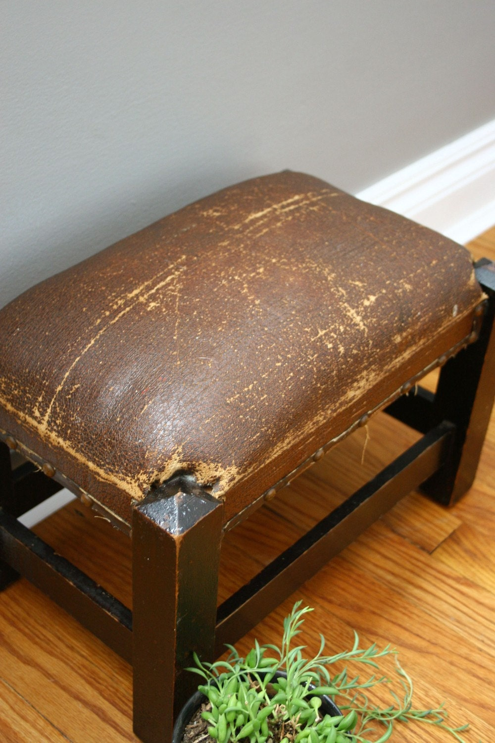 vintage leather footstool antique craftsman leather footstool by ohalbatross on etsy 3235