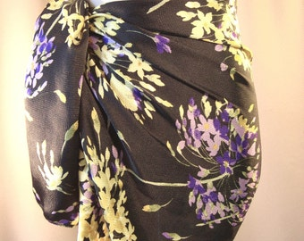 Mini Sarong - Pareo - Black Purple Yellow Floral - Silky Beach Wear