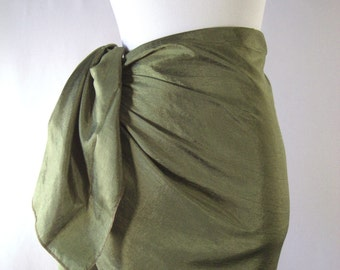 Mini Sarong - Short Pareo - Crinkled Silky Satin - Olive Green Sarong - Swimsuit Cover up - Beach Skirt - Beachwear