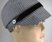 Grey and White Stripe Cap with Black Velvet and Button Trim
