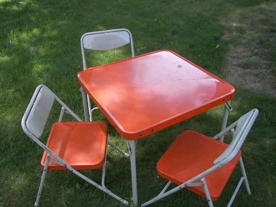 Vintage Samsonite Folding Table And Chairs For Kids