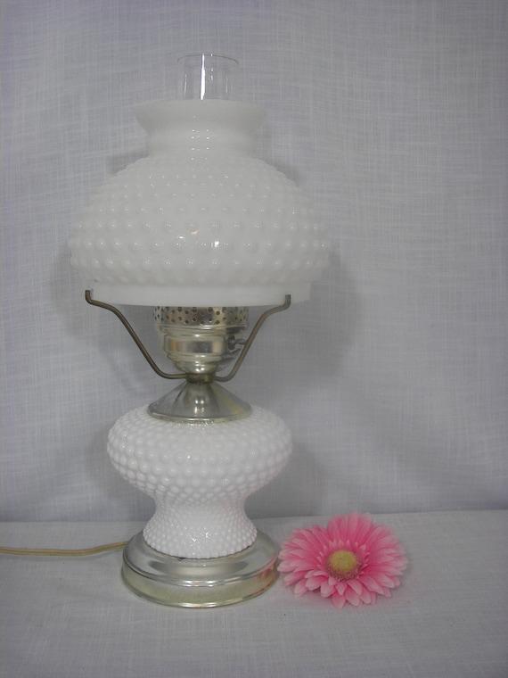 vintage milk glass hobnail lamp by zellesattic on etsy
