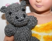 """Sale, American Girl Doll  hold & carry Pet HIPPO, stuffed animal friend,  pretend play  and sleep with, for 18"""" dolls made by ZzDsigns"""