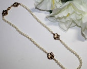 80s Faux Pearl Necklace with Gold tone Flowers,tiny pearl center,23 in long,vintage