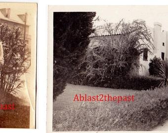 2 Vintage Photos, 1920-30s Photo of women holding rabbit & photo of vintage 1920s home