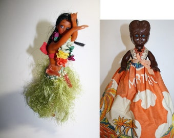 """Vintage 1940-50s Souvenir Dolls, Black Ethnic Mammy doll from Martinique  LARGE 10"""", & Hawiiain Doll."""