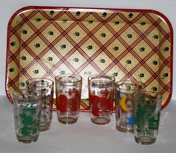 Vintage 50s  Juice Glasses, Swanky Swig, and RARE,PLAID serving tray,50s,Kraft Juice Glasses,Mad Men era kitchen, retro