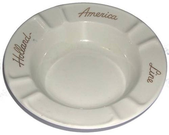 1950s, 60s, Porcelain, Holland American Cruise Lines,  ceramic ashtray,SOUVENIER for the HOLLAND AMERICA LINE.MOSA, Maastricht, Holland, circular ashtray , Lettered, in gilt script, Holland America Line, MINT