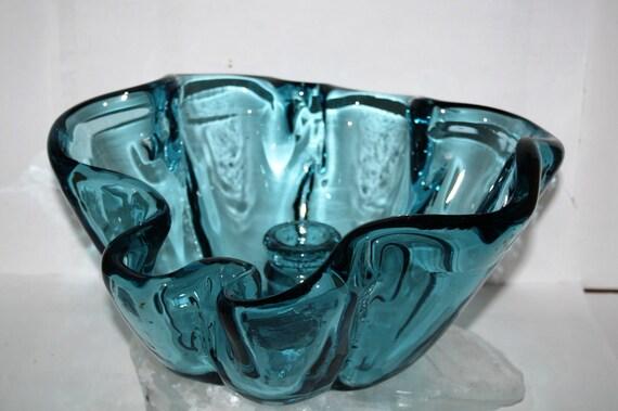 RARE BLue Glass Sparkletts BOTTLE, SLUMP art Bowl, Water Bottle Melted, molded , pop-culture, Retro one of a kind