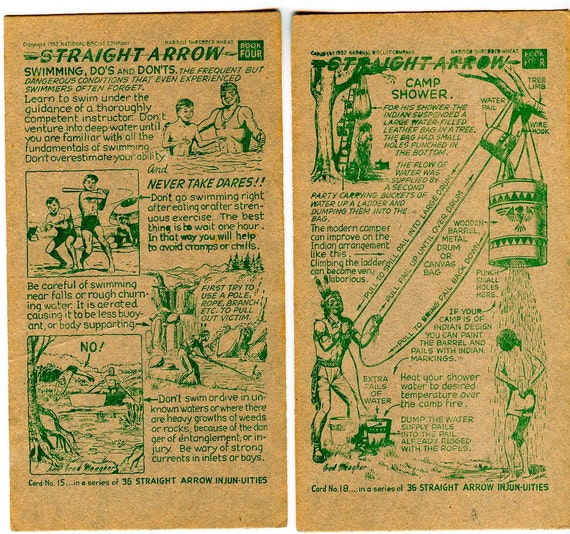SALE, Straight Arrow - 1950 Nabisco Trading Card No. 15 & 18, Shredded Wheat cereal  Injun-Uities, Cards book 4, Mad men era,Great mans gift