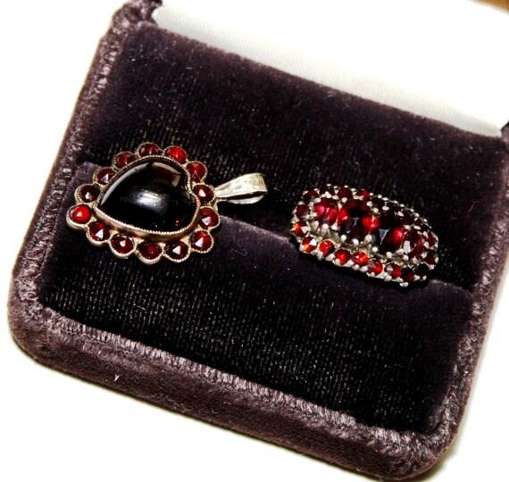 2 pc Antique Victorian Bohemian Garnet Ring 8Kt 333 & Bohemian Garnet Heart Pendant,38 ROSE CUT,Deep red, rich,  fiery Bohemian garnets