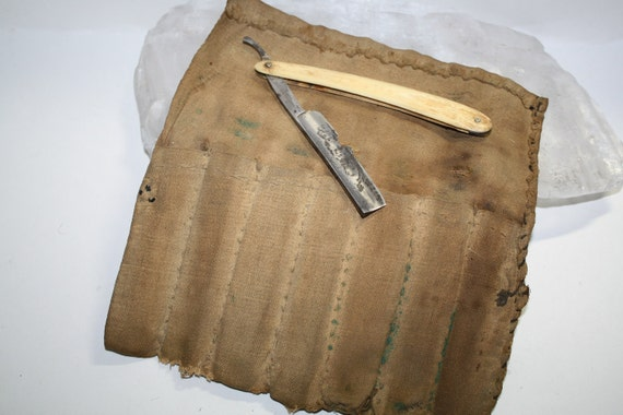 Antique Primitive, CIVIL WAR, 7 day Razor case, canvas,RAZOR Case,hand sewn,Rare & one of a kind