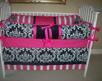 Fuchsia and Black Damask Baby Bedding Set