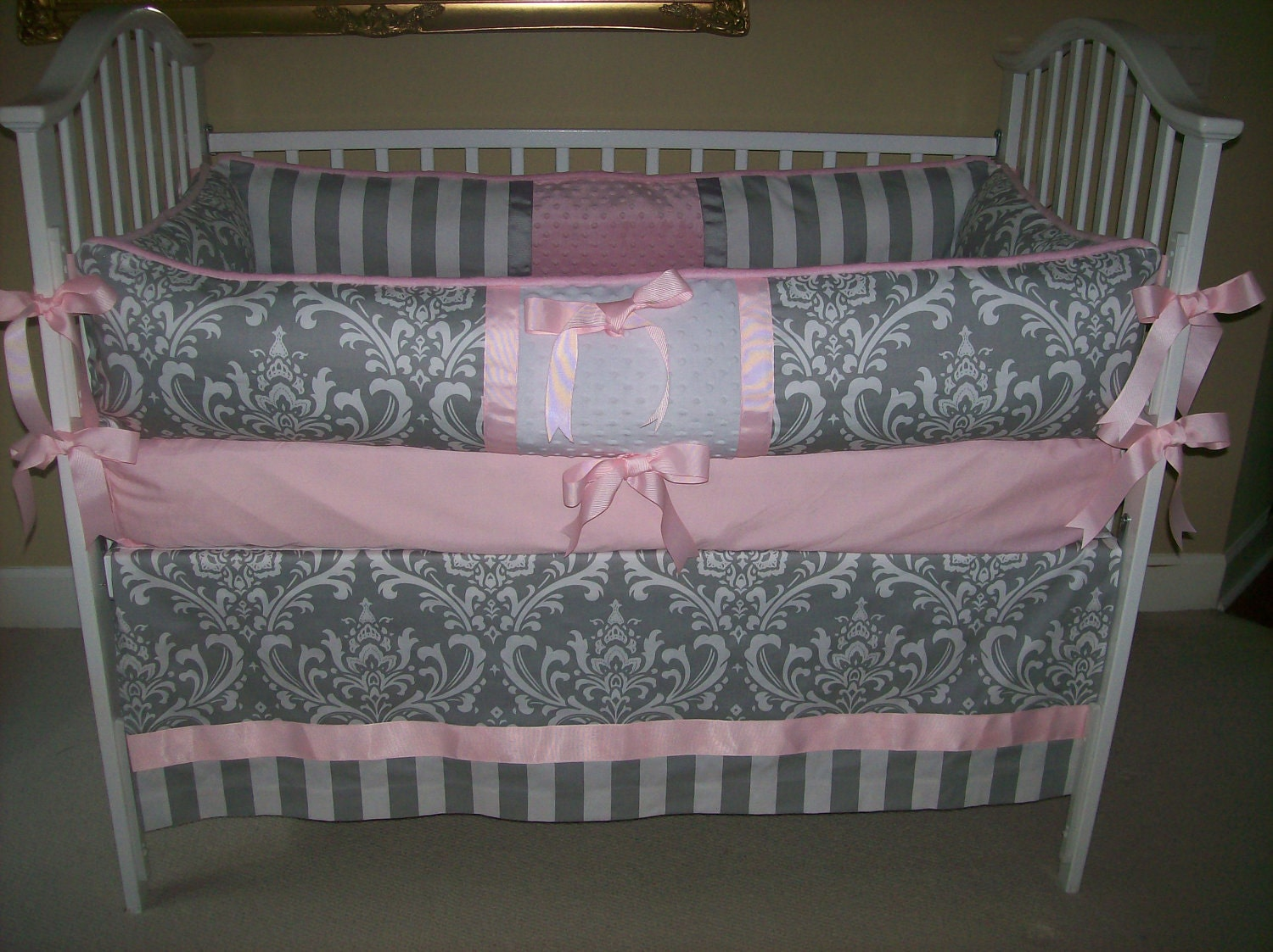 Grey And Pink Baby Bedding Set By Babydesignsbyelm On Etsy
