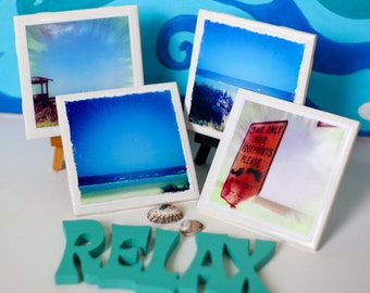 Beach Drink Coasters- Set of 4 Ceramic Coasters - Enjoy the beach year round