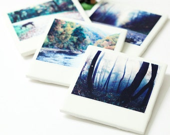 Ceramic Coasters, Drink Coaster - Deer, Colorful Set of 4. Nature, Trees, Pretty Coasters.