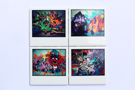 Graffiti Coasters,  Miami Street Art - Set of 4 Ceramic Coasters