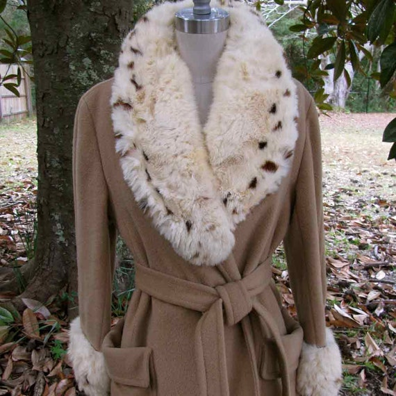 Snow Queen Vintage Fur and Camel Hair Wrap Coat