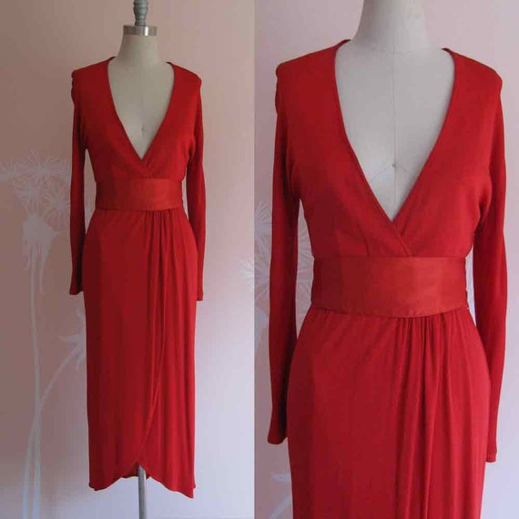 Lady In Red Vintage 1970s MORTON MYLES Super Sexy Jersey Knit Low Cut Dress