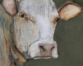8 x 10   COW -  Giclee print from my original oil painting - COW Art